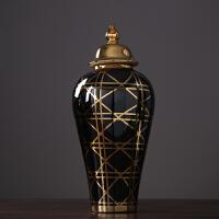 新古典欧式大号储物罐将军罐花瓶新中式样板房间酒店陈列装饰摆件