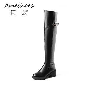 阿么2017新款中跟圆头长靴粗跟皮带扣高筒靴修腿显瘦过膝靴子