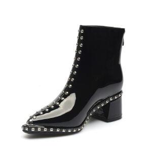 WARORWAR法国新品YG04-A110冬季欧美珠光漆皮高跟粗跟铆钉女士靴子切尔西靴短靴