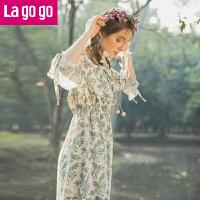 【5折价144】Lagogo2018春季新款喇叭袖高腰九分袖连衣裙女装碎花雪纺仙女裙子