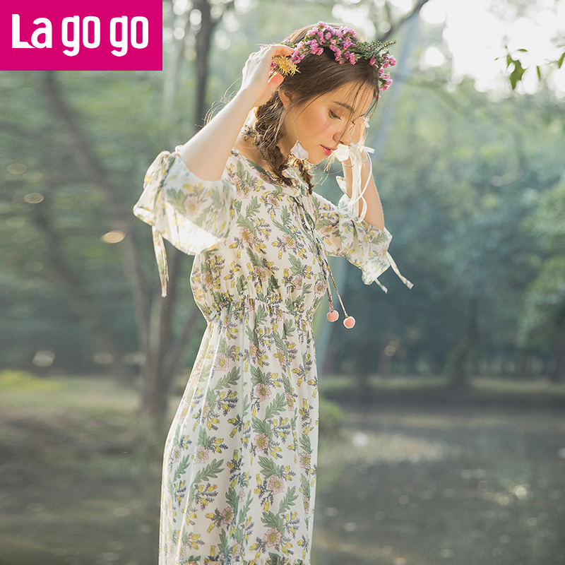 Lagogo2018春季新款喇叭袖高腰九分袖连衣裙女装碎花雪纺仙女裙子