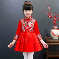 女童旗袍秋冬儿童唐装公主裙女孩中国风古筝演出服宝宝新年拜年服