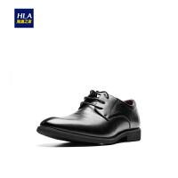 HLA/海澜之家商务花纹正装皮鞋2018秋季新品系带大气休闲皮鞋男士