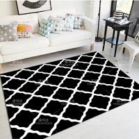欧式简约现代客厅沙发茶几地毯卧室床边黑白北欧风格地毯长方形