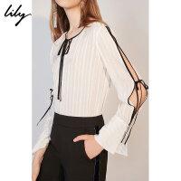 Lily春新款女装撞色系带镂空条纹套头衫雪纺衫118340C8633