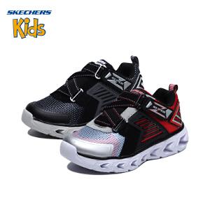 斯凯奇童鞋 (SKECHERS)儿童鞋 男童Z型搭带闪灯鞋 运动型 舒适休闲鞋 闪光鞋(4岁―12岁以上)