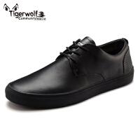 Tigerwolf虎狼公社 真皮男鞋休闲鞋韩版潮流板鞋透气皮鞋青年时尚