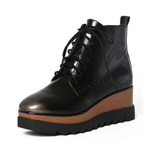 Tata/他她冬季浅金珠光牛皮绑带坡跟短靴女休闲靴2LK41DD6