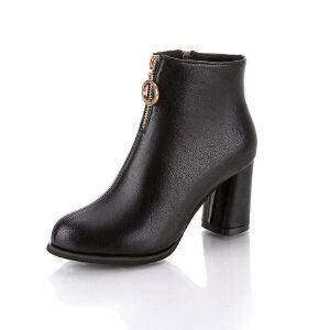 WARORWAR新品YM110-F9018秋冬韩版磨砂反绒粗跟高跟女士靴子短靴