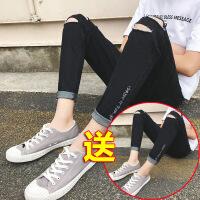 破洞九分牛仔裤男修身小脚弹力青少年学生裤子男韩版潮流夏季新款