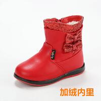 冬季童鞋女童棉鞋新款中小童靴子中筒加绒棉靴加厚保暖靴