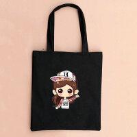 原创情侣帆布包单肩包手提包环保袋购物袋简约猫咪女学生书包 520w黑包
