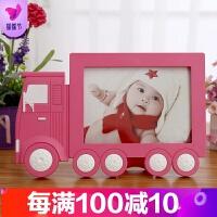 7寸6寸卡通创意儿童相框摆台宝宝相片框汽车手机照片冲洗制作相架 7寸货车 玫红