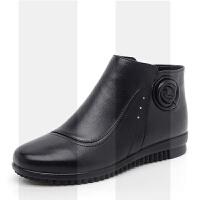 冬季妈妈棉鞋中老年真皮加绒防滑保暖老人平底奶奶软底舒适女短靴SN1415
