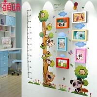 萌味 照片墙 6框7寸幼儿园墙面装饰实木照片墙儿童创意组相框墙简约现代身高贴送孩子生日礼物儿童礼品创意礼品