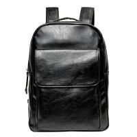 新款男士真皮双肩包韩版简约学生书包商务潮流背包软皮百搭旅行包 黑色