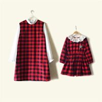 2018年春春新款亲子装母女装童装纯棉甜美格子韩版长袖连衣裙
