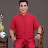 中老年人短袖唐装男套装居士服宽松大码棉麻中国风夏季薄款爸爸装