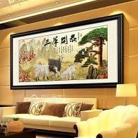 三羊开泰装饰画现代中式书法字画客厅办公室饭店背景墙壁画迎客松