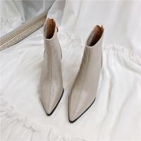 chic韩国短靴女秋冬尖头粗跟靴潮流女鞋后拉链高跟复古马丁靴