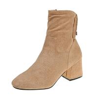 2018秋冬季新款粗跟绒面蝴蝶结骑士靴女鞋子舒适短筒中跟女靴子潮