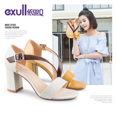 依思q夏季新款时尚韩版一字带女鞋百搭粗跟学生高跟凉鞋