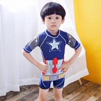 儿童游泳衣男宝2-3-4-5-6-7-8-9岁10男孩小学生平角泳裤套装 蓝色