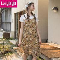 【5折价149.5】Lagogo/拉谷谷2018年夏新款时尚吊带学院风印花连衣裙HALL103G55