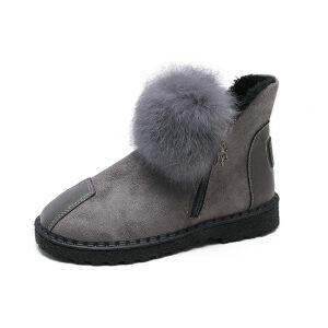 WARORWAR新品YM162-999冬季欧美平底舒适兔毛毛球女士雪地靴