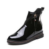 20190120062132070短靴女2018新款冬秋单靴侧拉链女靴百搭内增高靴子平底女士马丁靴