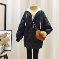 中长款假两件刺绣棉衣女冬季新款流行外套 2018羽绒服女气质名媛短款