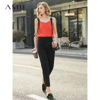 【预估价115元】Amii极简港味重工设计感吊带背心女2019夏季新拼接宽带街头风上衣