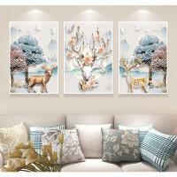 2018印花十字绣三联画线绣客厅简约现代小幅发财麋鹿卧室满绣