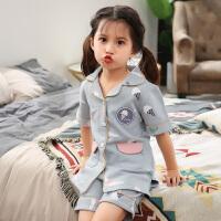儿童睡衣夏季短袖纯棉女童家居服亲子小孩宝宝大童薄款空调服套装