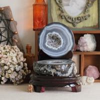 布家11年实拍天然聚宝盆玛瑙水晶簇球原矿紫粉摆件风水石净化