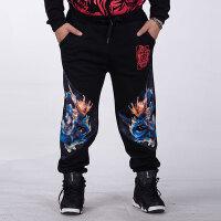 胖子潮流大码男裤中国风印花男式卫裤宽松加肥加大男士运动休闲裤 黑色丨双龙 不加绒