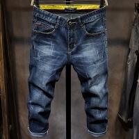 男士牛仔短裤夏季7分裤薄款破洞七分牛仔裤学生韩版潮流大码青年
