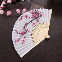 扇子折扇中国风女日式和风樱花扇旗袍表演道具古典真丝折叠舞蹈扇