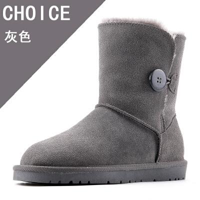 反季雪地靴女皮毛一体牛皮女鞋学生百搭时尚防滑 灰色 5803