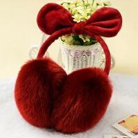 2018新款女款可爱冬季天护耳包儿童学生保暖时尚耳朵卡通耳罩耳套耳帽韩版 酒红色 兔耳朵耳罩