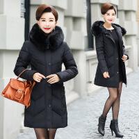 冬季新品中老年羽绒加大修身中长款棉衣女大毛领保暖妈妈外套