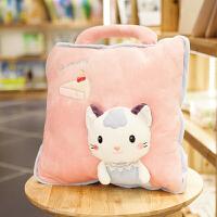 猫咪午睡枕头被子汽车抱枕被子两用靠垫被珊瑚绒空调被靠枕毯子