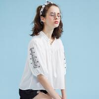 【3件2.5折到手价:24.75】美特斯邦威短袖衬衫女早春宽松甜美可爱娃娃领衬衣chic抽绳打底衫