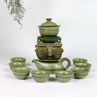 家用青瓷莲花石磨半自动茶具套装中式创意懒人泡茶器简约单层茶盘