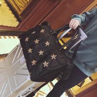 短途旅行包女手提行李包韩版大容量牛津布旅行袋轻便防水健身包潮 黑色