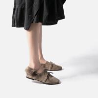 青婉田毛毛鞋女冬外穿单鞋女欧洲站懒人鞋豆豆鞋女冬季瓢鞋毛毛鞋