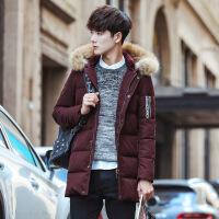 加厚羽绒服男士中长款男装2018新款连帽大衣韩版冬季修身帅气外套