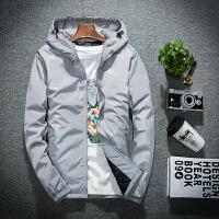 青年学生薄款棉衣潮流韩版帅外套男大码棉袄男士冬季 灰色 纯灰色