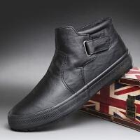 2018新款马丁靴男靴中帮冬季男鞋高帮皮靴加绒保暖棉鞋男雪地短靴srr 黑色 加绒
