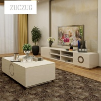 ZUCZUG现代简约茶几创意储物家具客厅小户型钢琴烤漆茶几电视柜组合 +2米电视柜 组装